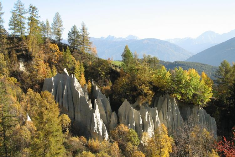 Terento earth pyramids in autumn